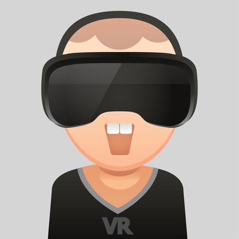 Virtual Reality glass headset ,Vector flat design