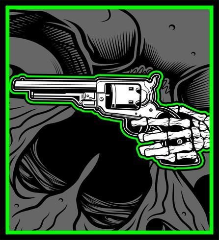 Mão de caveira segurar arma de Uzi vetor