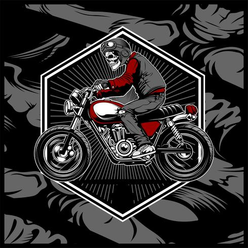 skull wearing a helmet riding an old motorcycle,vector