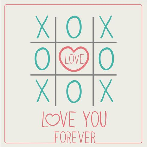 LOVE YOU FOREVER XOXO Happy Valentines day card Font Type vector