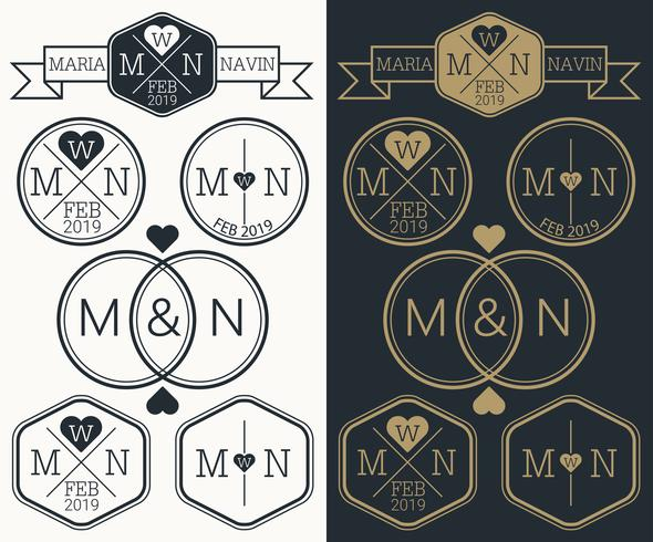 Monogramme de mariage vecteur