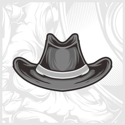hat cowboy hand drawing vector