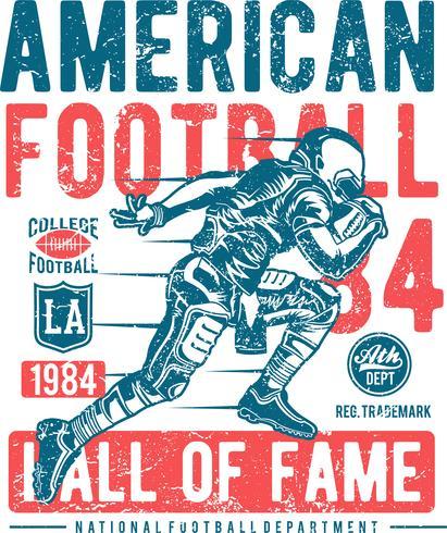 Silueta de logotipo de jugador de fútbol americano corriendo, logotipo de fútbol americano - Vector