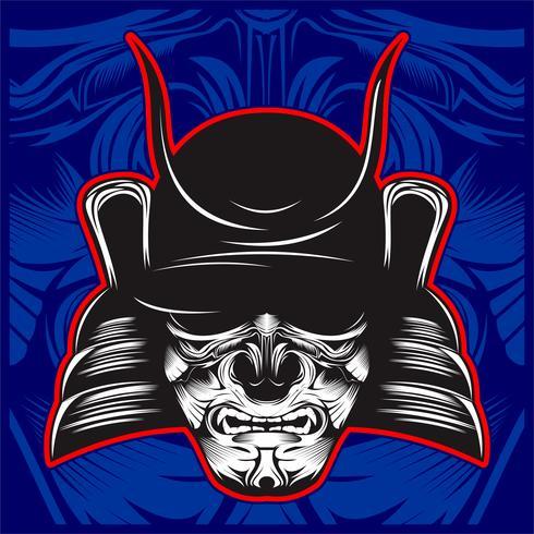 Ilustración de cráneo de samurai - Vector