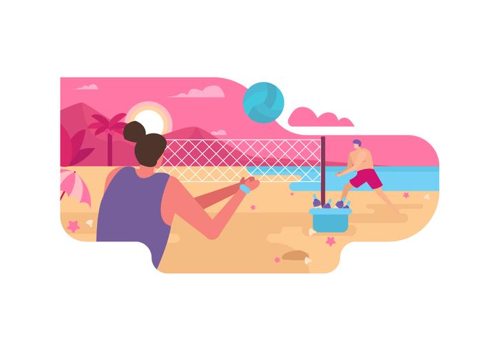 Beach Volley sull'illustrazione piana di vettore di estate