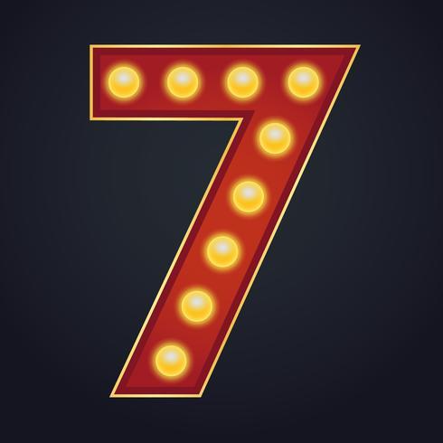 Carta número sete alfabeto sinal letreiro vintage lâmpada