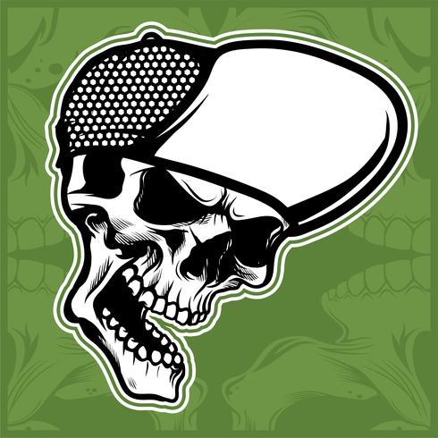 head skull wearing cap hand drawing vector
