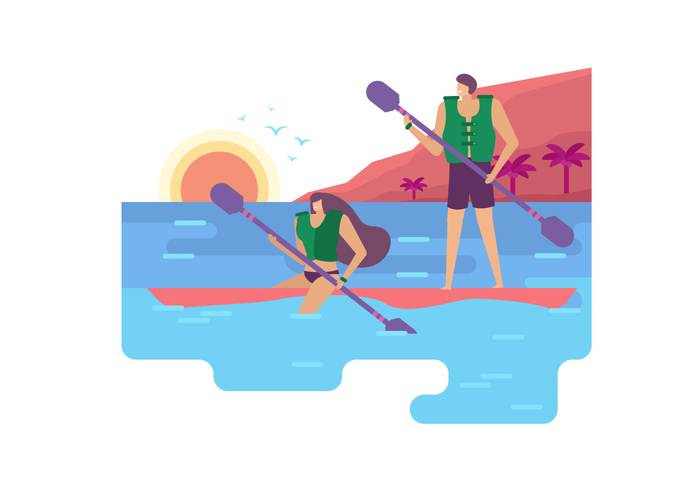 Summertime Activity At Beach Vector Flat Illustration