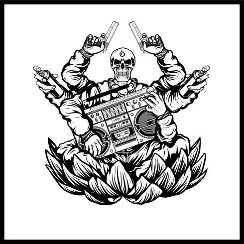 crânios de hip-hop carregam pistolas e vetor de música