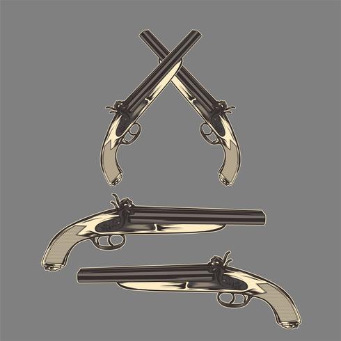 pistool klassieke vintage hand tekenen vector