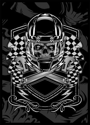 skull with helmet.vector hand drawing