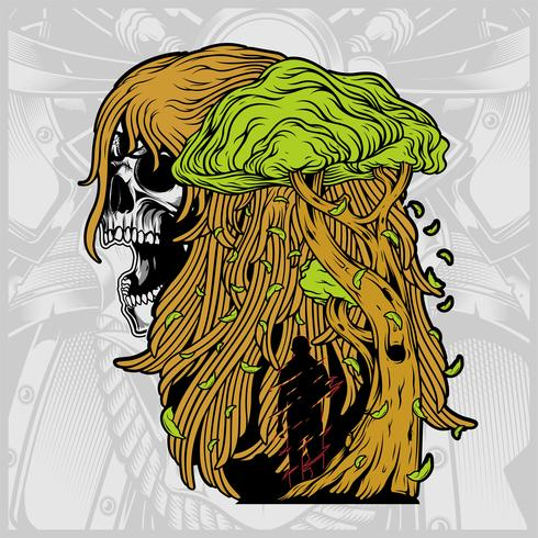 crânio de uma mulher com um vetor de árvore