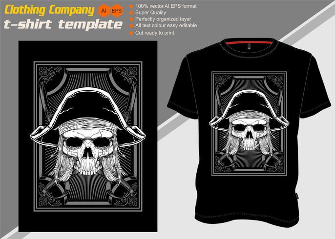 t-shirt sjabloon met schedel piraat, hand tekenen vector