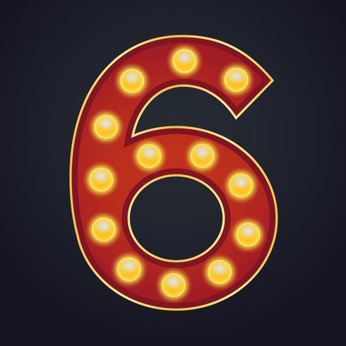 Letra número seis alfabeto signo carpa bombilla vinta vector