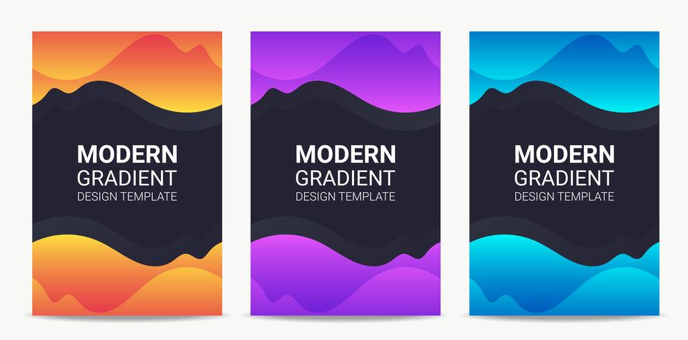 Fluid Modern gradient background design template set vector