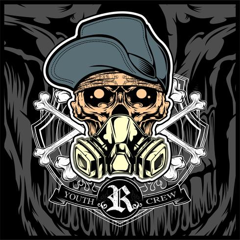 skull wearing hat and gas mask vector