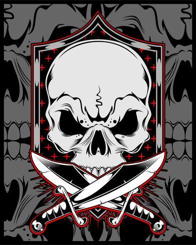 skull with cross sword.vector hand drawing