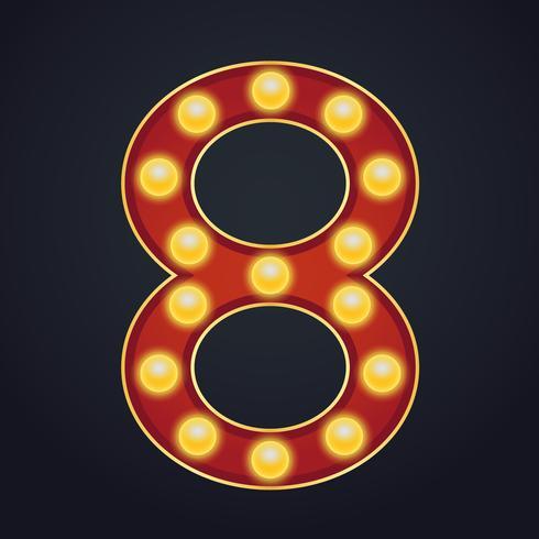 Número de letra oito alfabeto sinal letreiro vintage lâmpada
