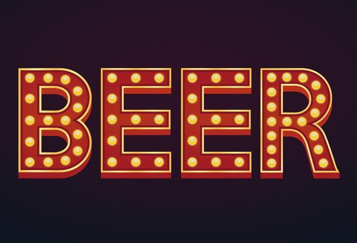 BIER banner alfabet teken marquee gloeilamp vintage
