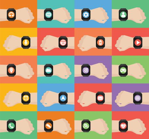 Mano con smartwatch y los iconos de aplicaciones en smartwatch