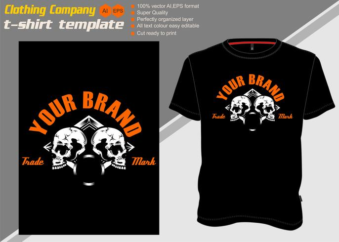 modèle de t-shirt avec deux crâne, main dessin vectoriel