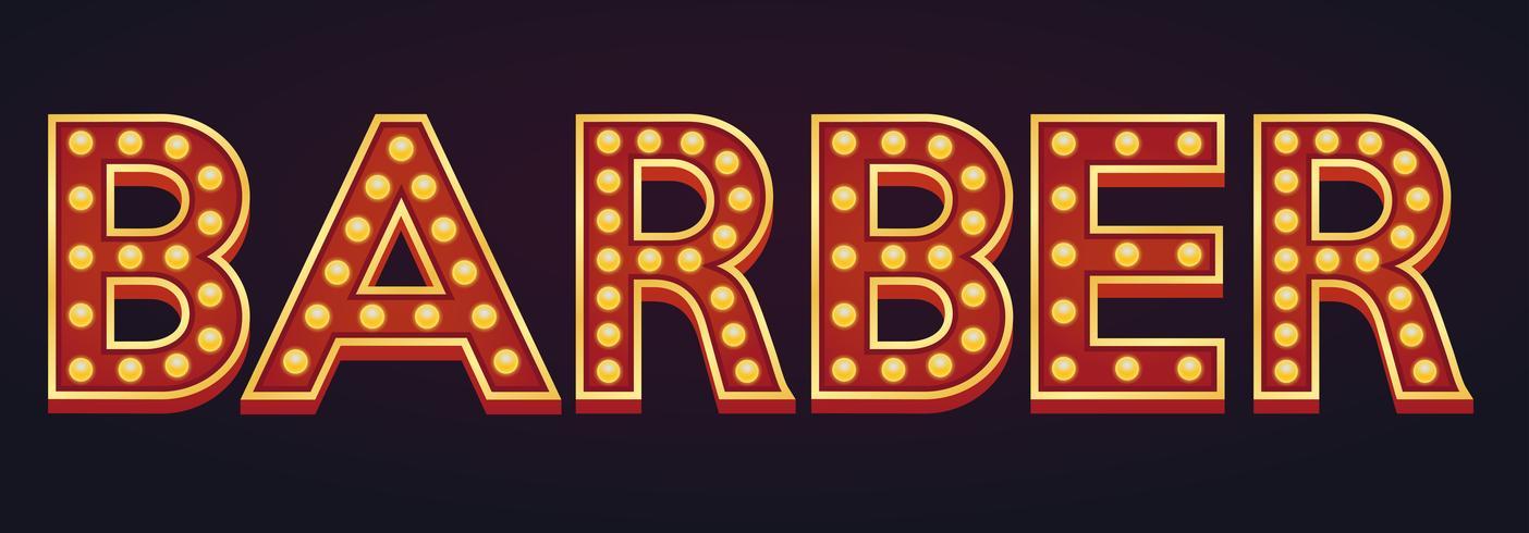 Barbero banner alfabeto signo carpa bombilla vintage vector