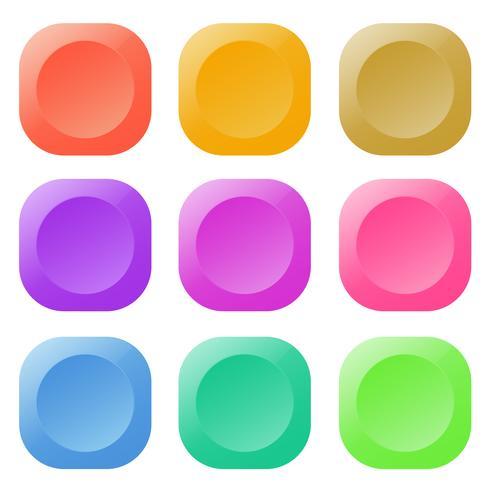 Tecknad knapp set spel, GUI element för mobilspel vektor