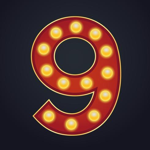 Carta número nueve alfabeto signo carpa bombilla vintage vector