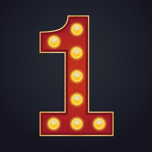 Carta número uno alfabeto signo carpa bombilla vintage vector