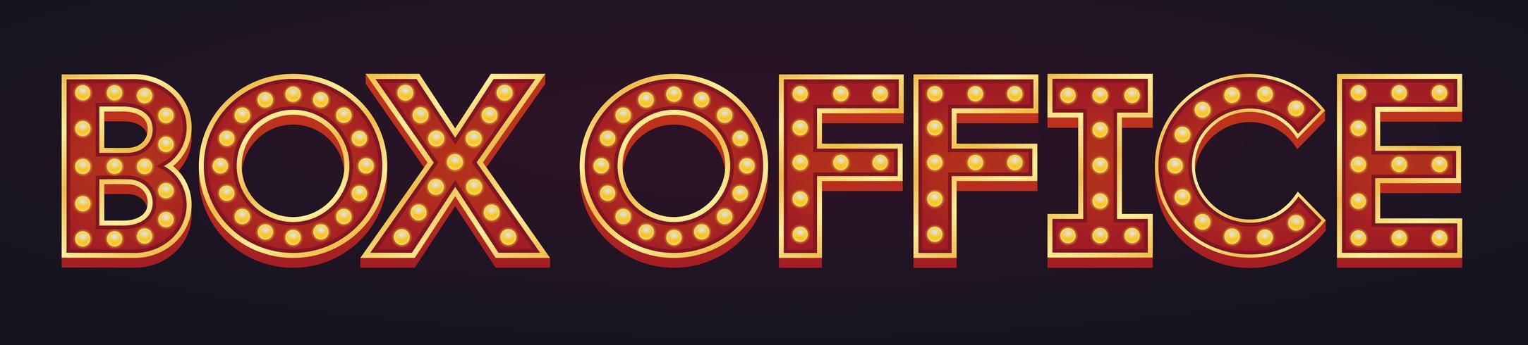 Box Office banner alfabet teken lichttoog gloeilamp vintage
