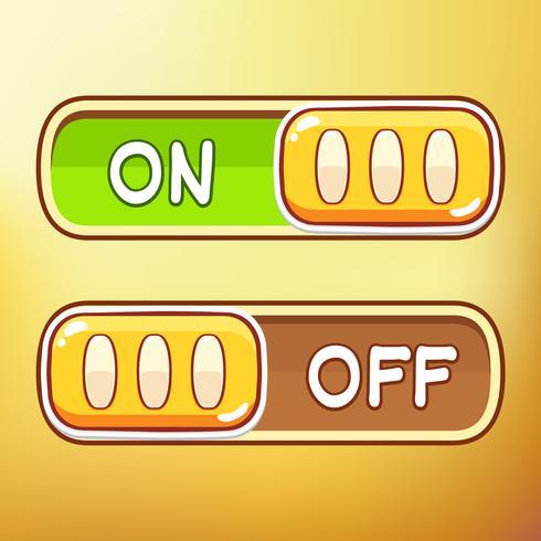 Interruptor de palanca de dibujos animados activos de diferentes símbolos