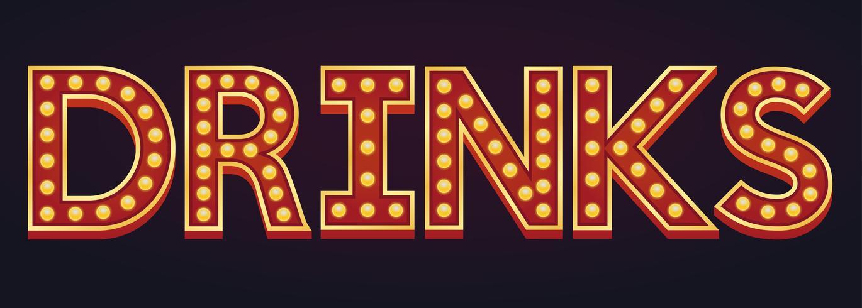 DRANKEN banner alfabet teken lichttoog gloeilamp vintage