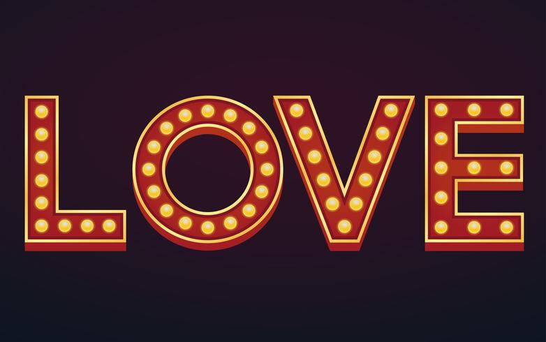 LOVE banner alfabeto signo carpa bombilla vintage vector