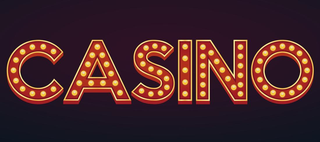 CASINO-teken van de de markttent gloeilamp van het alfabetteken