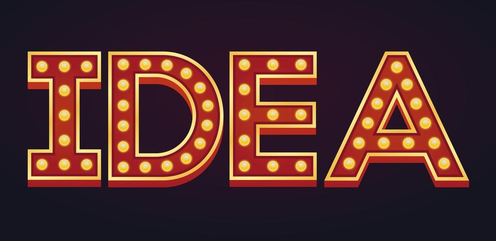 IDEA banner alfabeto signo carpa bombilla vintage vector