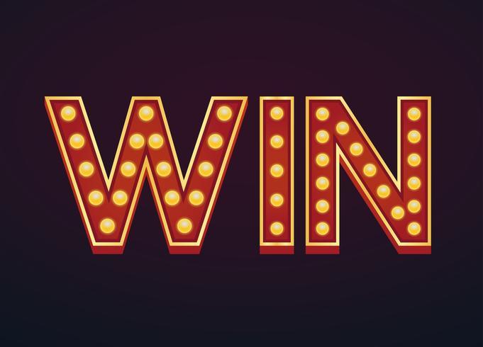 Win banner alfabet teken marquee gloeilamp vintage