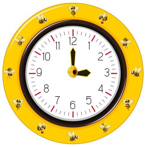 Relógio de abelha de listras pretas e amarelas