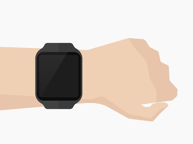 Smartwatch op pols plat minimaal ontwerp, vectorillustratie.