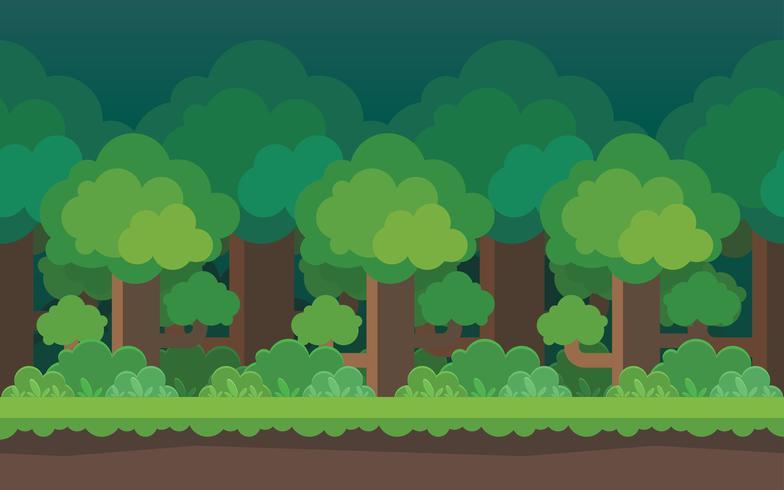 Elementi di sfondo senza giunte di foresta dei cartoni animati per i giochi mobili