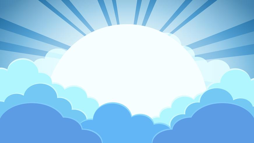 Colorful blue sky background with clouds and sun with rays vector