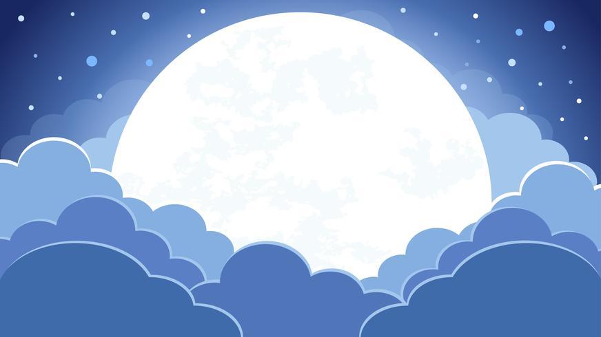 Colorido do fundo do céu noturno com nuvens e luar