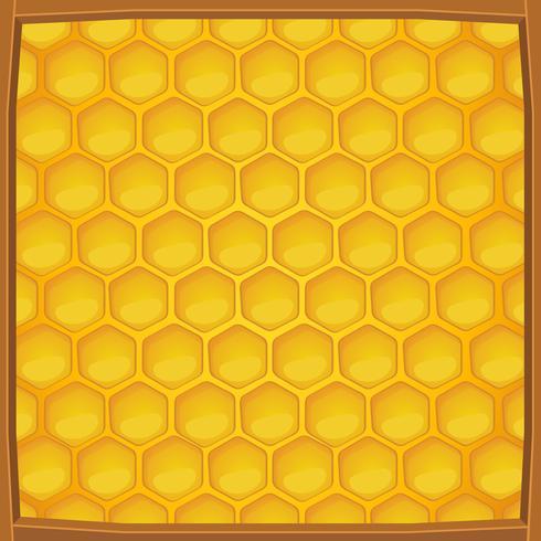 Favo de mel dos desenhos animados embalado em moldura de madeira de fundo