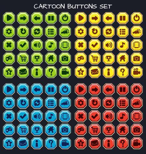 Botão de desenho animado conjunto pack de jogo, elemento GUI para jogo móvel