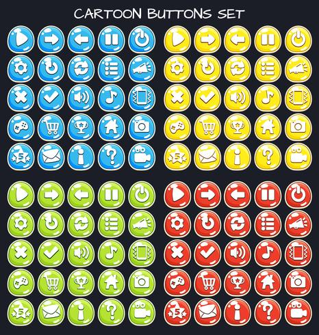 Cartoon button set game pack, GUI element for mobile game vector