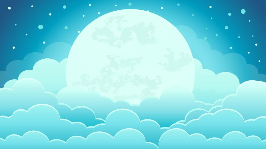 Colorful of the night sky background with clouds and moonlight vector