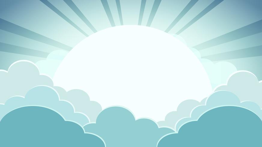 Fundo colorido céu verde com nuvens e sol com raios