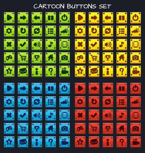 Knoppakket met cartoonknopenset, GUI-element voor mobiel spel vector