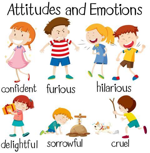 Reihe von Einstellungen und Emotionen der Kinder