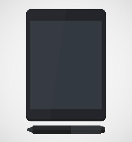 Tablet e caneta Stylus isolado no design plano de fundo branco