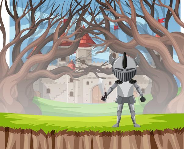 Cavaleiro na cena de madeira de armadura